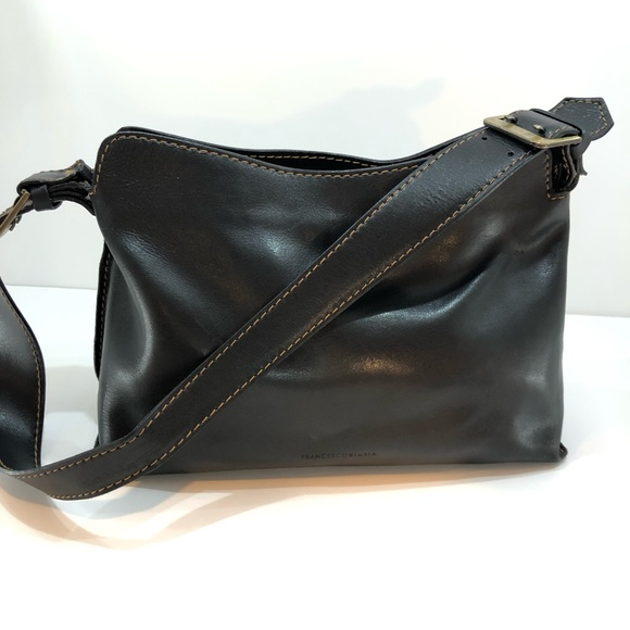 FRANCESCO BIASIA BLACK LEATHER SHOULDER BAG